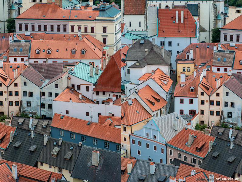 красные крыши в городе Чешский Крумлов