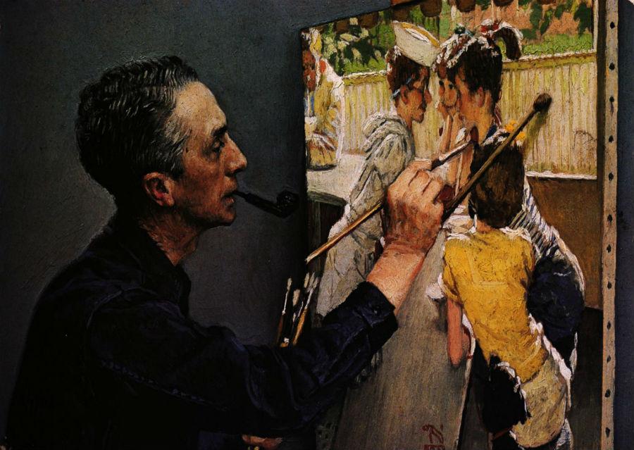 Автопортрет - Норман роквелл пишущий Молодёжное кафе.jpg
