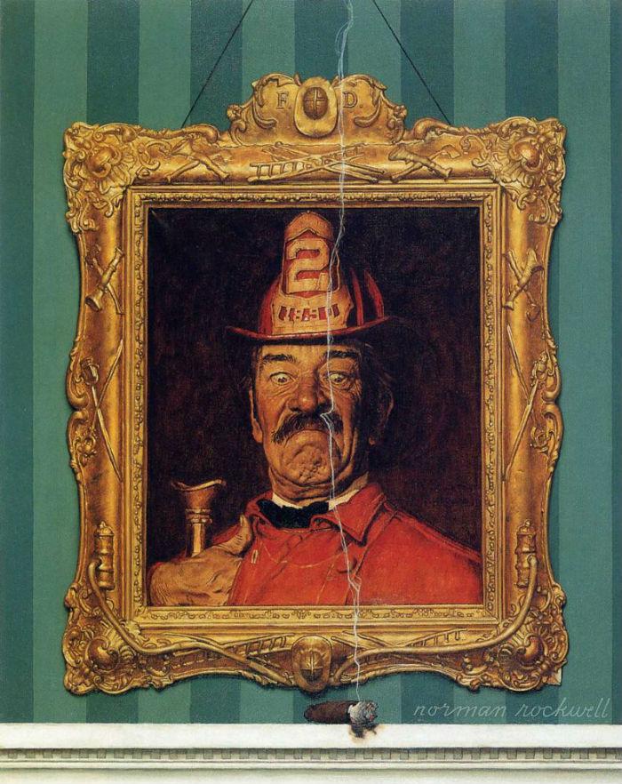 Портрет пожарника и зажжённая сигара - 1944.jpg