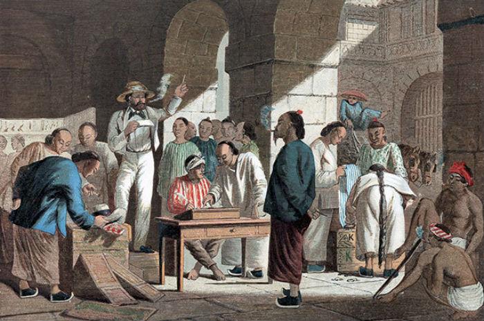 Торговля английскими товарами в Китае - 1858 - Олеография.jpg