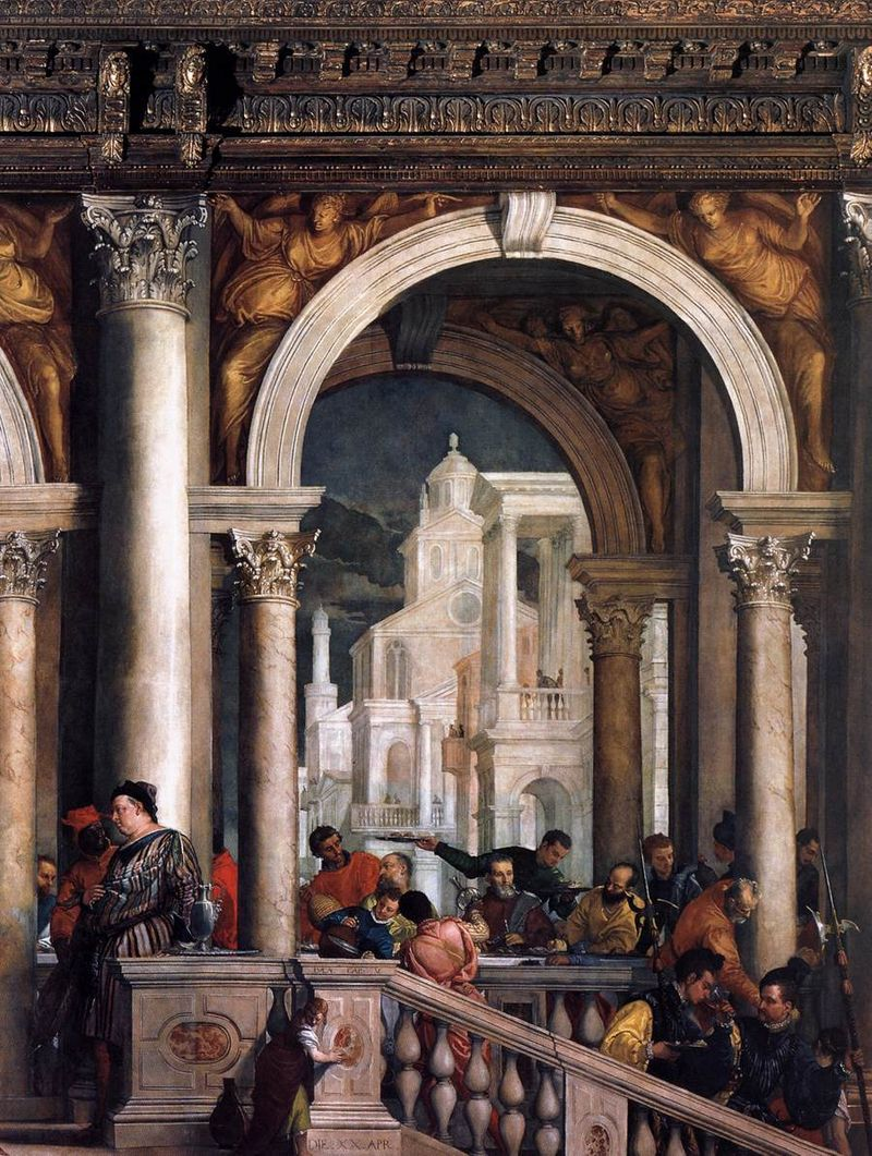 Веронезе - Пир в доме Левия - Надписи на балке и основании балюстрады  ссылка на Евангелие от Луки (фрагмент).jpg