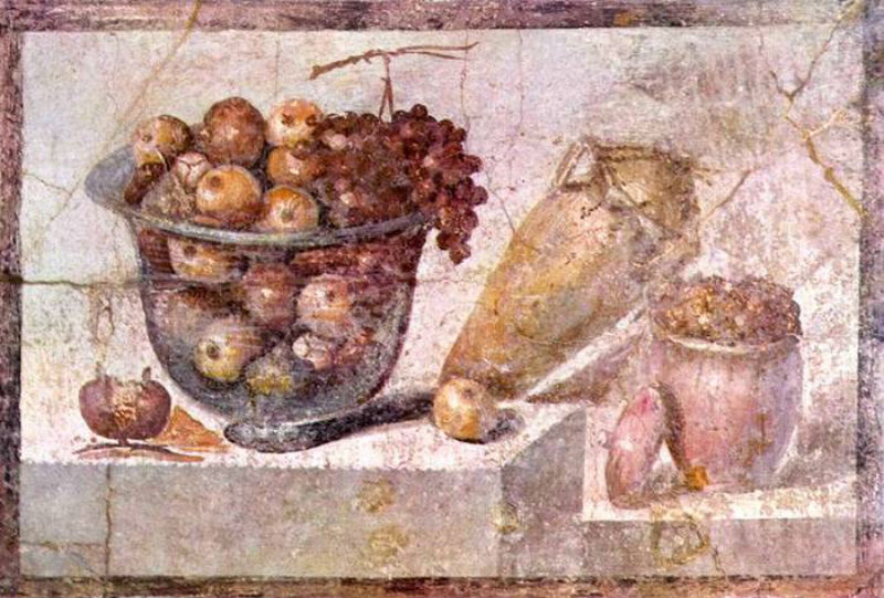 1-Натюрморт (фреска из Помпей) 63-79 - Неаполь Национальная галерея Каподимонте - Автор неизвестен.jpg