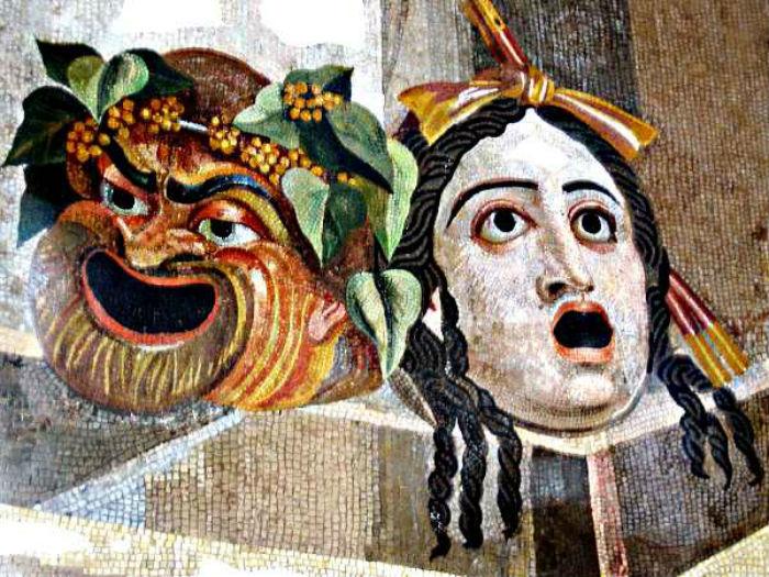 Античная мозаика - Театральные маски - Древняя Грециия.jpg