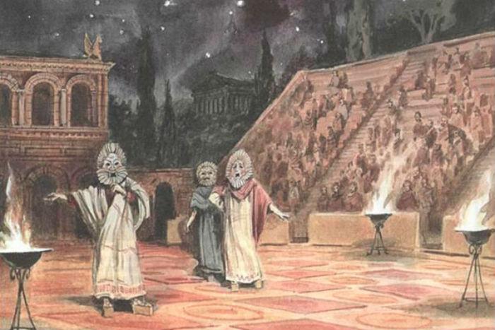 Театральное представление в древнегреческом театре.jpg