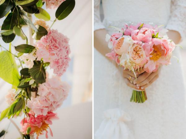 Букеты на свадьбу из гортензии