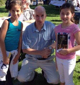 Authors on the greene photo - Jon Gibbs with two new readers cropped-compressed