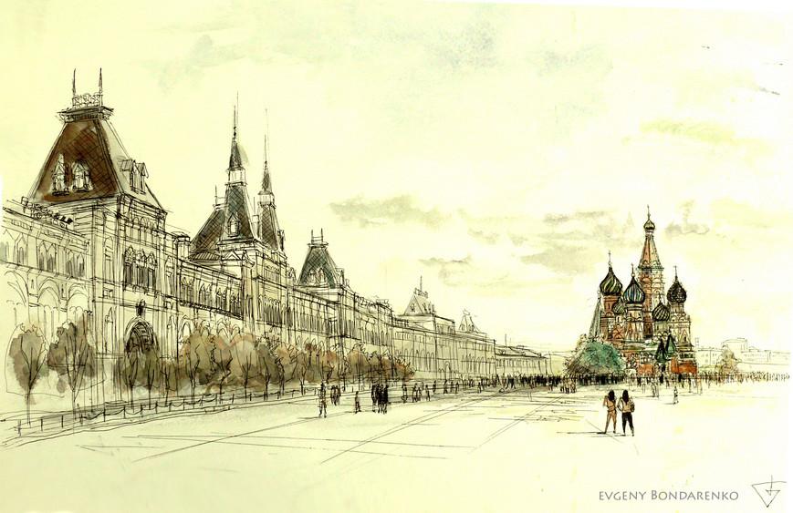 картинки красной площади в москве карандашом проповедники