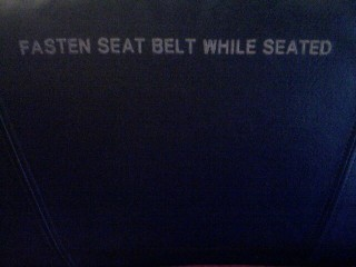 fasten seatbelt while seated.