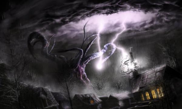 shub_niggurath_attacks_village_by_kingstantin-d7y0g77