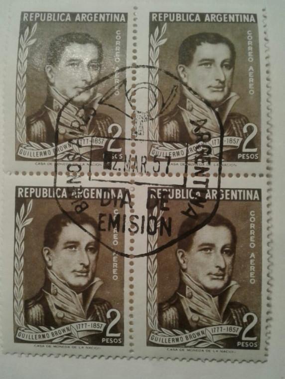 Блок марок с портретом национального героя Аргентины Гижермо Брауна. Специальное гашение  в память столетней  годовщины со дня смерти  Отца ВМФ Аргентины произведено 2 марта 1957 года.