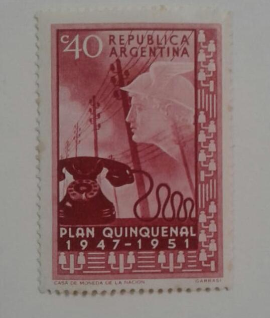 Почтовая марка Аргентины стоимостью 40 сентаво, выпущенная в целях пропаганды  первого пятилетнего плана президента Перона.