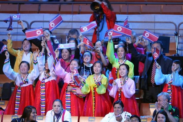 группа поддержки спортсменов КНДР