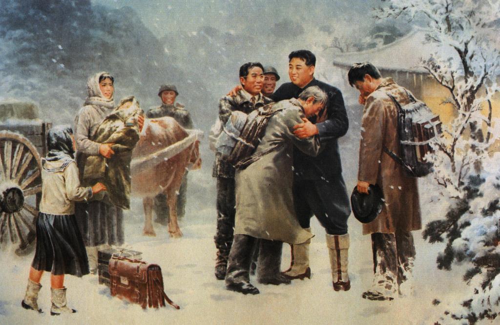 Великий Вождь товарищ Ким Ир Сен приветствует и тепло обнимает интеллегентов, выживших и вернувшихся после войны