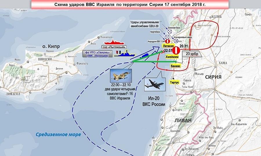 карта показывающее положение израильских самолётов