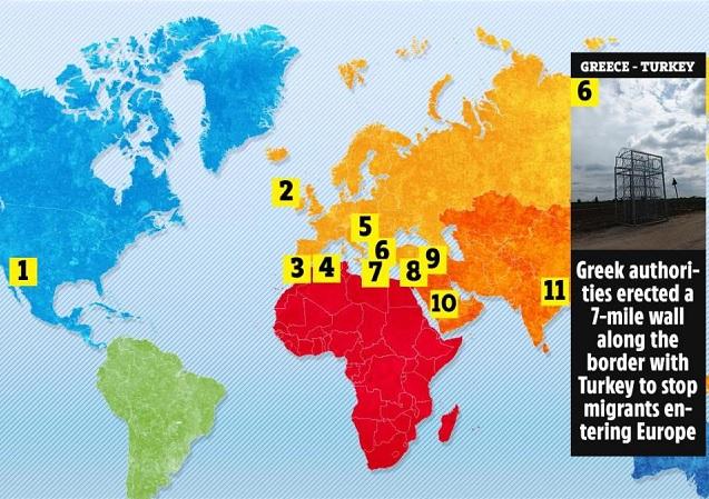 карта стен во всём мире