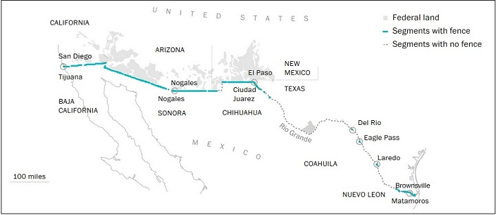 карта стены на границе с Мексикой