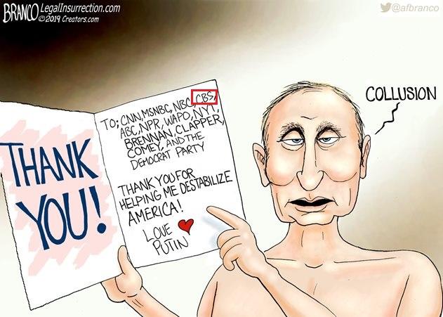 карикатура на которой Путин благодарит американские СМИ за дестабилизацию США