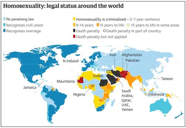 карта на которой показаны страны с разным юридическим статусом для гомосексуалистов