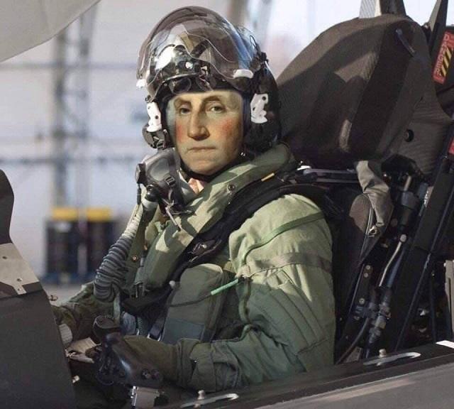Джорд Вашингтон в самолёте