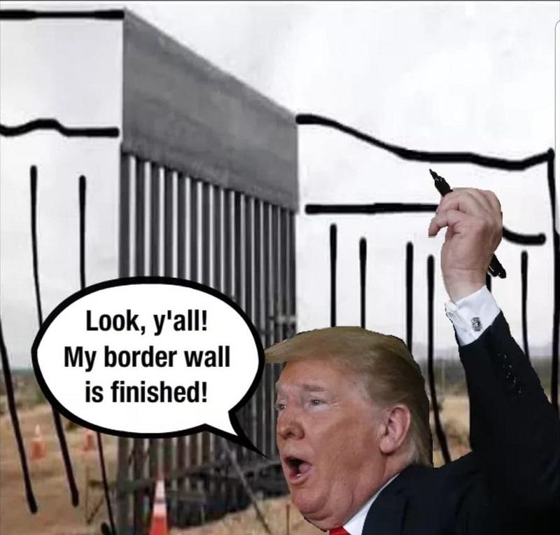 Трамп дорисовывет часть забора