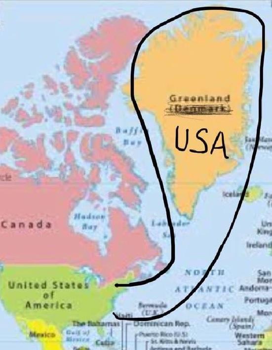 Гренландия пририсованная как часть США