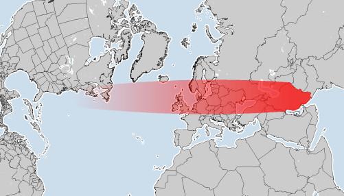карта траекторий ракет из Ирана