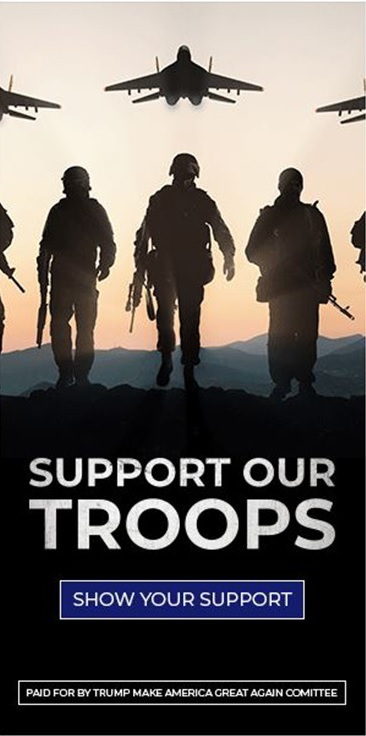 реклама предвыборного штаба Трампа, на которой изображены российские самолёты и солдаты с автоматами АК-47