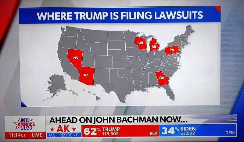 Штаты в которых команда Трампа подала иски в суд
