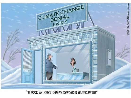 каррикатура на отрицателей изменения климата
