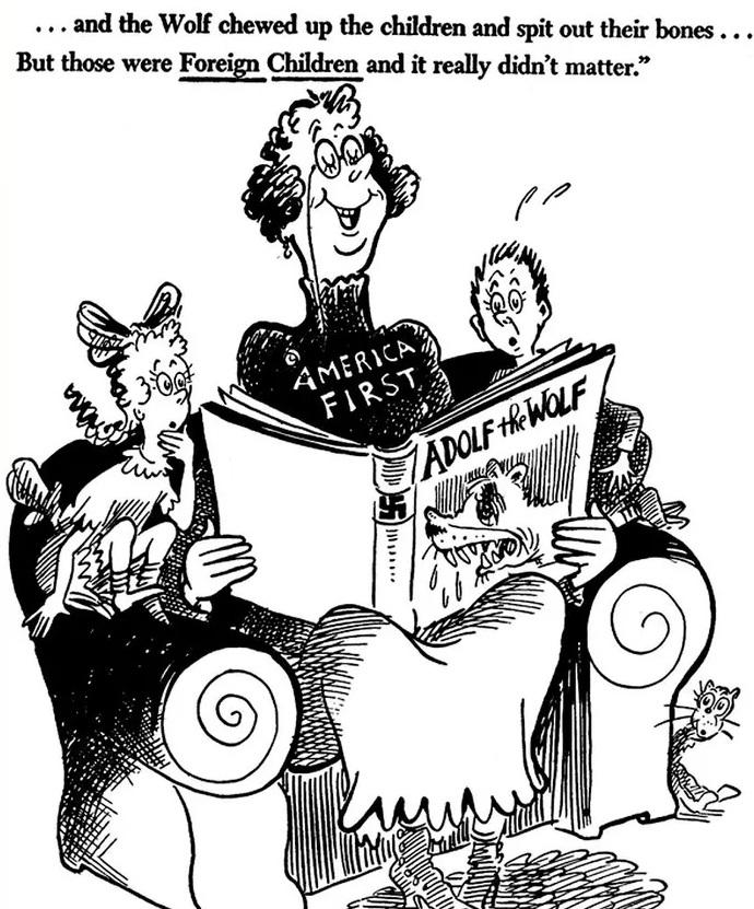 карикатура с женщиной на которой написано Америка прежде всего