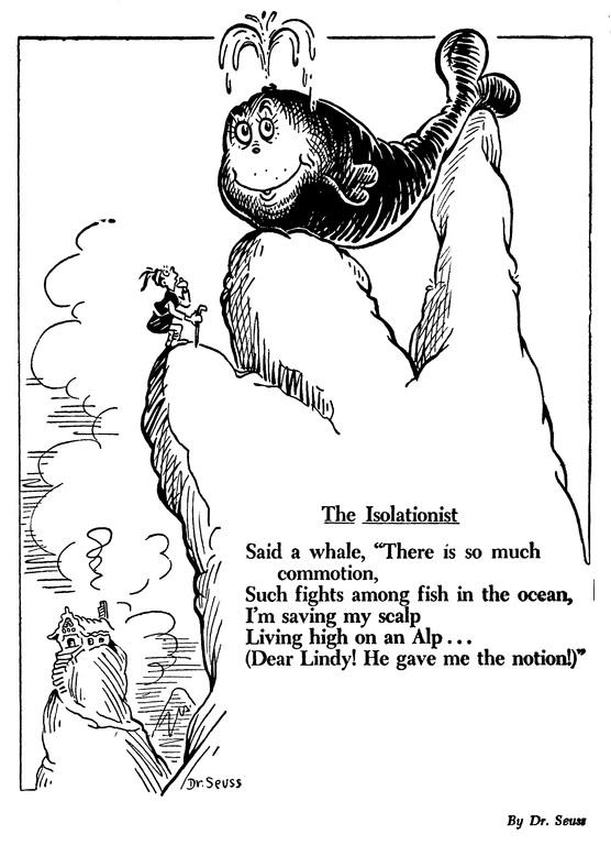 карикатура на политику изоляционизма