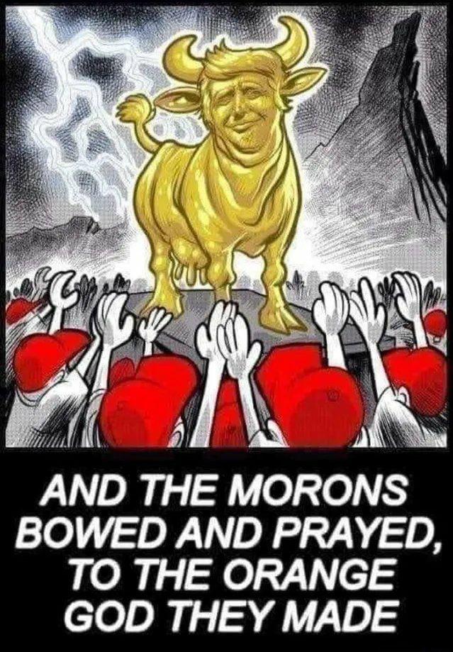 дебилы поклоняются трампу как богу