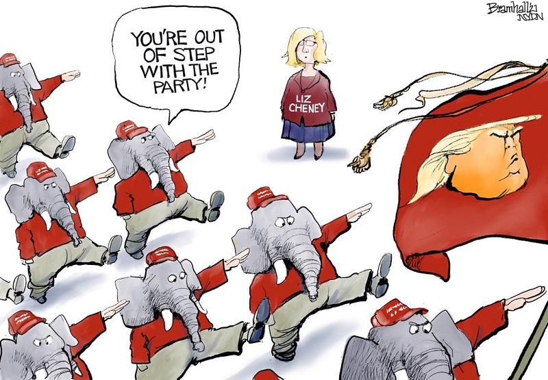 карикатура на республиканцев связанная с Лиз Чейни