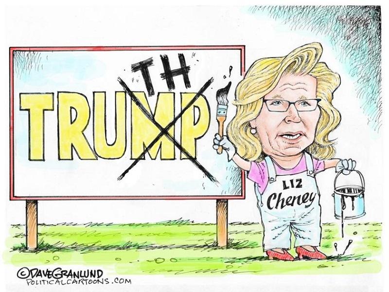 Лиз Чейни зачёркивает две последние буквы в слове Trump и заменяет их чтобы получилось Truth