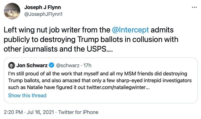 скриншот твита Джозефа Флинна