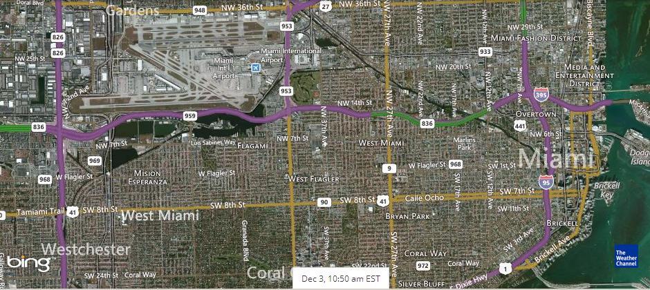 спутниковый снимок Майами до полудня