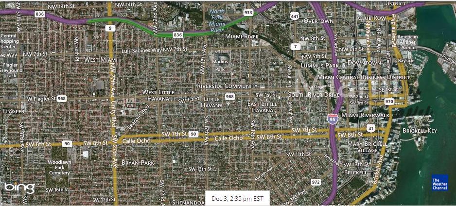 спутниковый снимок Майами после полудня