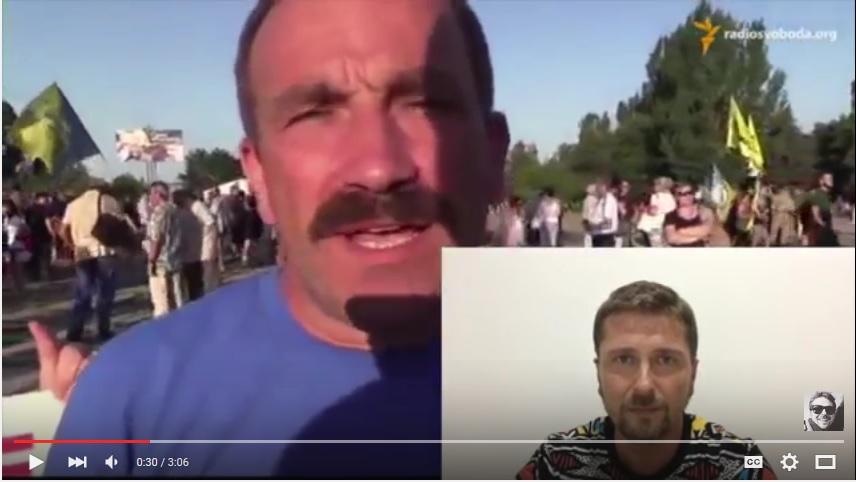 член самообороны Мелитополя на митинге в Мариуполе в клипе Шария