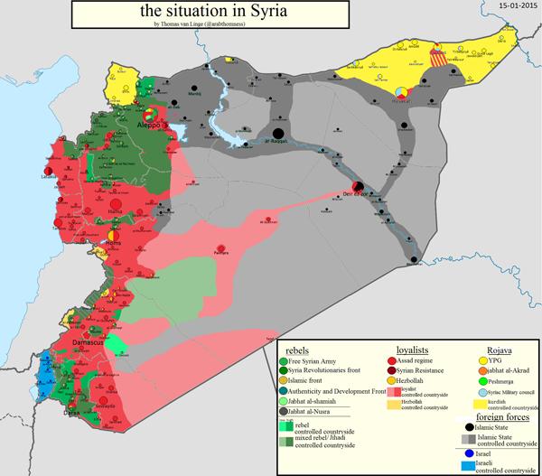 карта Сирии 15-01-2015