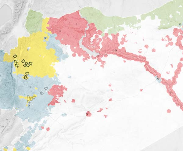 карта бомбардировок Сирии российскими ВВС