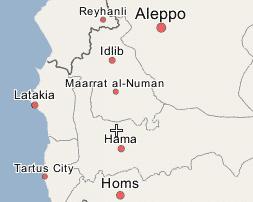 карта с населенным пунктом Markabah в провинции Хама, Сирия