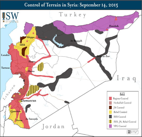 карта контроля сирийской территории сентябрь 2015 года
