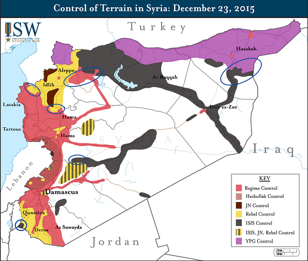 карта контроля сирийской территории декабрь 2015 год
