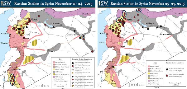 карта российских бомбардировок Сирии за ноябрь 2015