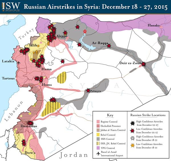 карта российских бомбардировок Сирии