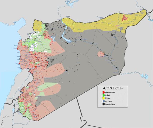 карта Сирии на 30 сентября 2015 года