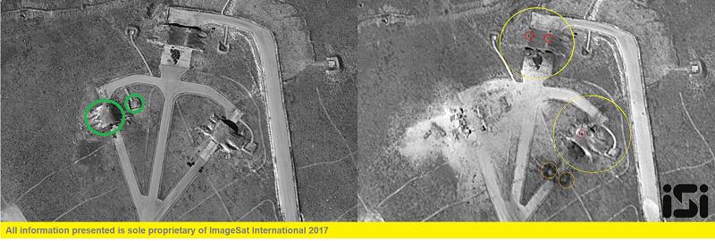 снимки ангаров до и после атаки