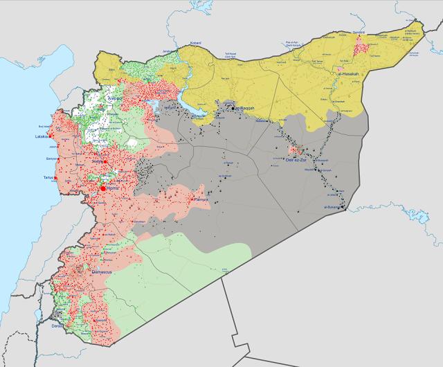 Карта Сирии май 2017