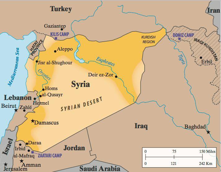 физическая карта Сирии