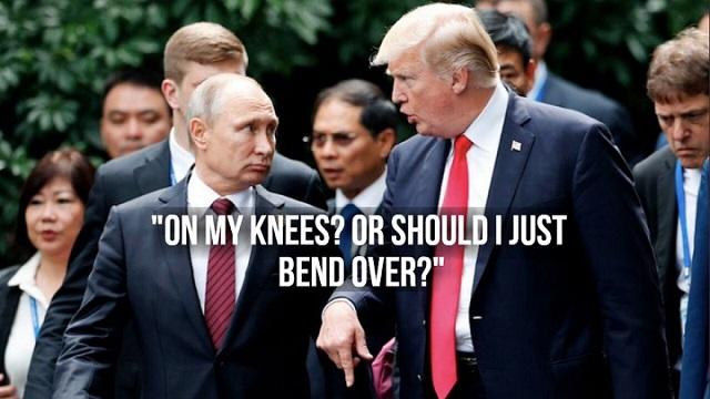 Трамп Путину - мне стать на колени или просто покланяться?